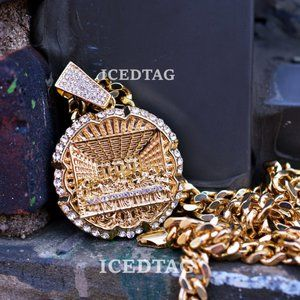 """Iced Out Last Supper Pendant 30"""" Necklace Iced Set"""